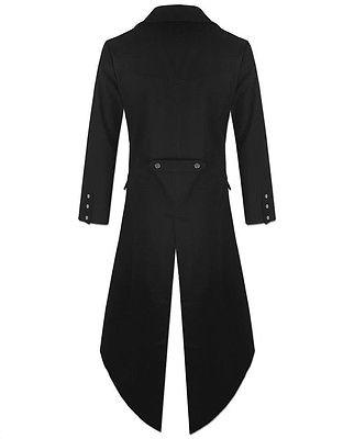 Men-Black-Handmade-Steampunk-Tailcoat-Jacket-Black-Gothic